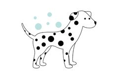 White puppy with black spots. Blue bubbles on the background. vector illustration