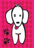 White puppy with dog paw prints Royalty Free Stock Photo
