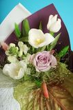 White and purple bouquet close up, natural flowers.  royalty free stock images