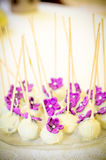 White and purple candy. Candy arrangement, that can be used for decorating tables at the wedding Royalty Free Stock Photo