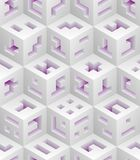 White purple cubes isometric seamless pattern. Vector tileable background. Blockchain technology concept vector illustration