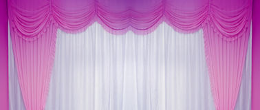White And Purple Curtains Stock Photo