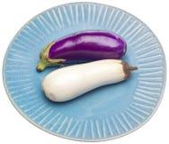 White and Purple Eggplant Varities Stock Photo