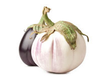 White And Purple Eggplants Stock Photo
