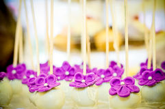 White and purple flowers candy. Candy arrangement, that can be used for decorating tables at the wedding Stock Photography