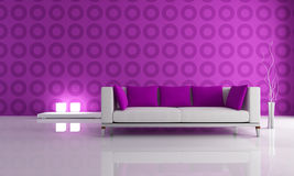 White and purple modern lounge Stock Image