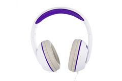 White and purple padded headphones isolated on white Royalty Free Stock Images