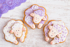 White and purple Sheep gingerbread cookies Royalty Free Stock Photo
