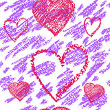 White  and purple vector seamless background with hearts. Royalty Free Stock Photos