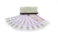 Purse with money. White Purse with money on a white background stock photos