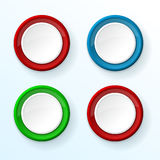 White push buttons with colored frames. Vector illustration Royalty Free Stock Photography