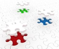 White puzzle on colored background Royalty Free Stock Images