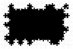 White puzzle frame. A white puzzle frame with a black background Stock Images
