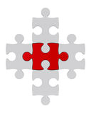 White puzzle and one red Royalty Free Stock Images