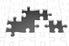 White puzzle pieces. With gap, three-dimensional rendering Stock Photos