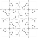16 White Puzzle Pieces - JigSaw - Vector. 16 White Puzzle Pieces Arranged in a Square - JigSaw - Vector Illustration vector illustration