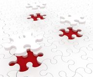 White puzzle on red background Stock Image