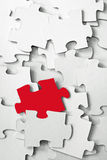 White Puzzle, Red Piece Stock Images