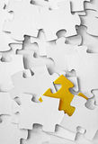 White Puzzle, Yellow Piece Stock Photo