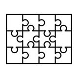 12 white puzzles pieces arranged in a rectangle shape. Jigsaw Puzzle template ready for print. Cutting guidelines on. 12 white puzzles pieces arranged in a stock illustration