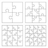 Puzzles. White puzzles 4, 9, 16 and 25 pieces jigsaw vector illustration stock illustration