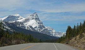 White Pyramid and Mount Chephren. Banff National Park, Alberta, Canada stock image