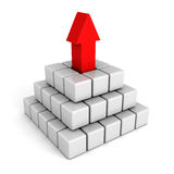 White pyramid with red leader top arrow. success leadership Royalty Free Stock Photos