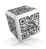 White qr code cube  on white Royalty Free Stock Photo