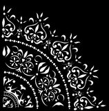 White quadrant with curls. Illustration with white decoration on black background Royalty Free Stock Image