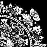 White quadrant with decoration. Illustration with white decoration on black background Royalty Free Stock Photos