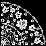 White quadrant with large flower. Illustration with white decoration on black background Royalty Free Stock Photo