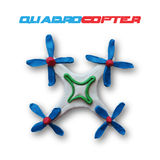 White quadrocopter. With blue blades. Top view. Vector illustration. Plasticine modeling Stock Images