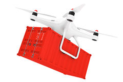 White Quadrocopter Drone with Cargo Container. 3d Rendering Royalty Free Stock Photos