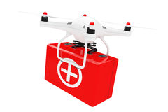 White Quadrocopter Drone with First Aid Kit. 3d Rendering. White Quadrocopter Drone with First Aid Kit on a white background. 3d Rendering Royalty Free Stock Photos