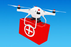 White Quadrocopter Drone with First Aid Kit. 3d Rendering. White Quadrocopter Drone with First Aid Kit on a blue background. 3d Rendering Royalty Free Stock Photos