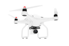 White Quadrocopter drone with Photo Camera. 3d Rendering. White Quadrocopter drone with Photo Camera on a white background. 3d Rendering Stock Image
