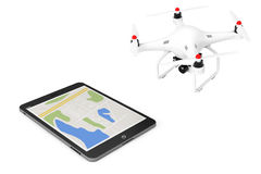 White Quadrocopter drone with Photo Camera near Tablet PC. 3d Re. White Quadrocopter drone with Photo Camera near Tablet PC on a white background. 3d Rendering Royalty Free Stock Photo