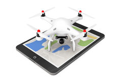 White Quadrocopter drone with Photo Camera over Tablet PC. 3d Re Royalty Free Stock Images