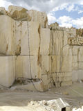 White quarry marble. Deep wall of white marble overhanging Royalty Free Stock Images