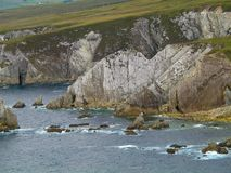 White Cliffs of Ashleam @ Wild Atlantic Way, Achill Island, Mayo, Ireland. Here is a photograph of some white quartz cliffs on White Cliffs of Ashleam @ Wild royalty free stock image
