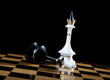 The white queen checkmate to black king Royalty Free Stock Photo