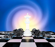 White queen on a chess board surrounded by a number of fallen bl Stock Photography