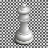 White queen chess piece in isometric, vector illustration. Photo realistic white chess piece queen. 3D isometric style, vector illustration Stock Photo