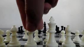 The white queen in a diagonal movement stock video