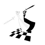 White Queen is lost. Chess match. Vector black and white. Fight of chess Queens. The white Queen is lost. A chess match. vector black and white illustration Royalty Free Stock Image