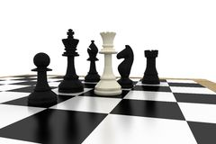 White queen standing with black chess pieces Stock Images