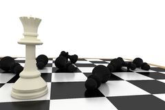 White queen standing with fallen black pawns Stock Photography