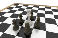 White queen surrounded by black pawns Royalty Free Stock Images