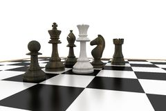 White queen surrounded by black pieces Royalty Free Stock Image