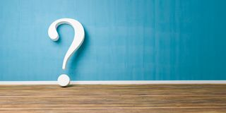 White question mark at blue concrete grunge Wall Royalty Free Stock Photography